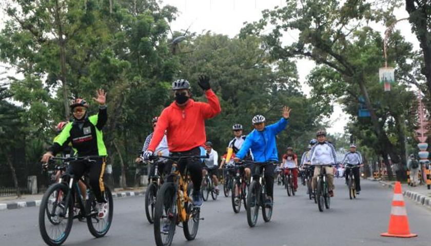 Olahraga, Kapolda Sumut Bersepeda ke Polsek Percut Sei Tuan