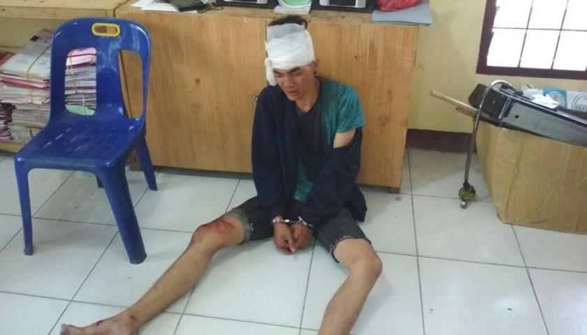 Penjambret Dompet Bonyok Dihajar Warga, Terduduk di Kantor Polisi