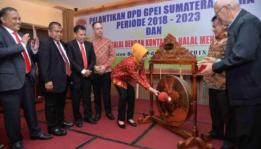 Genjot Pasar Ekspor, Wagubsu Dukung GPEI Sumut Launching Kontainer Bersertifikasi Halal