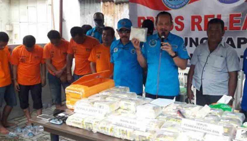 Sindikat Narkoba Medan Digulung, 7 Orang Diamankan, 50 Kg Sabu Disita