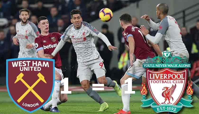 West Ham United Tahan Imbang Liverpool 1-1
