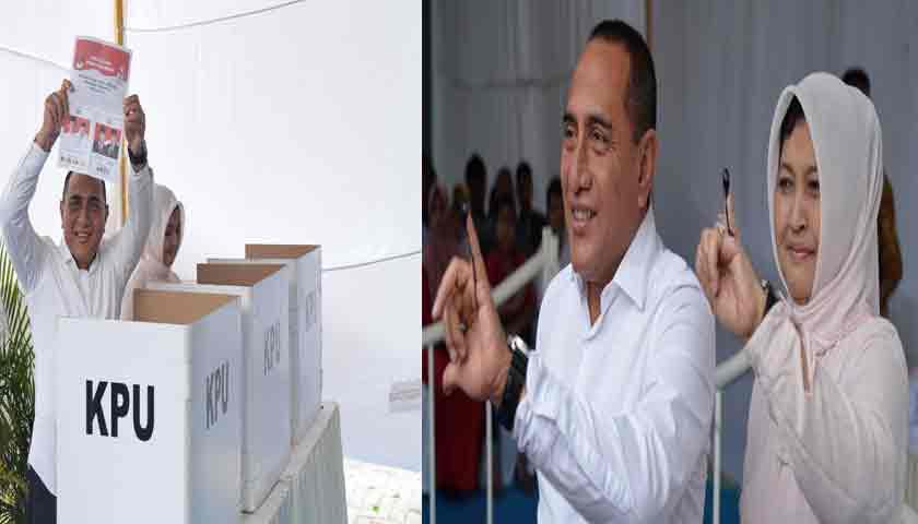 Gubsu Edy Rahmayadi dan Istri Nyoblos di TPS 46 Medan Johor