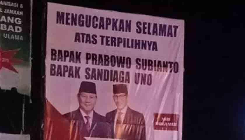 Baliho Ucapan Selamat Prabowo-Sandi Presiden Heboh di Tembung