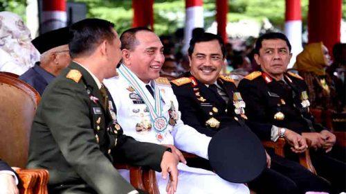 Mantap! Gubsu, Pangdam, Kapolda dan Kajati Sumut Jalin Kekompakan di HUT Ke-73 Bhayangkara