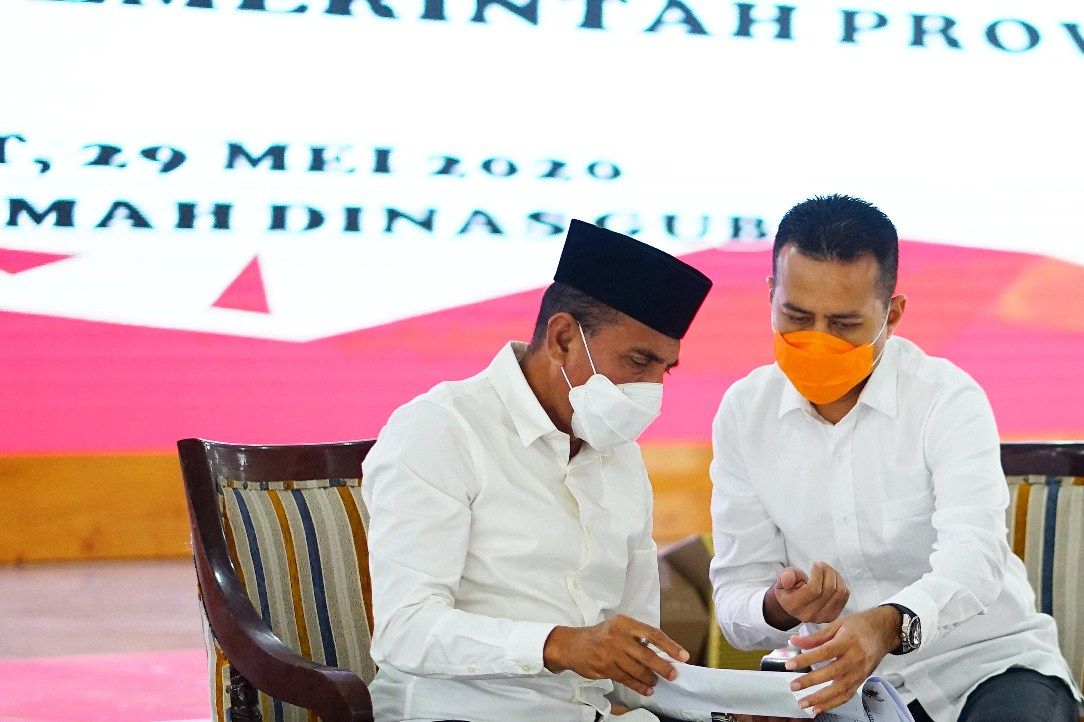 Gubernur-Sumut-Edy-Rahmayadi-bersama-Wakil-Gubernur-Wagub-Sumatera-Utara-Sumut-Musa-Rajekshah-usai-Rapat-Koorinasi-tentang-Percepatan-Penanganan-Covid-19-di-Provinsi-Sumatera-Utara